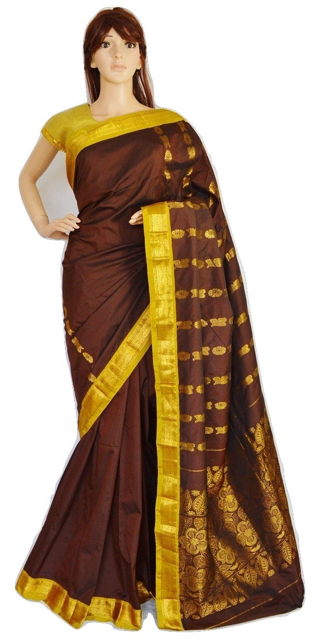 Brown Colour Mini Kanchi Silk Saree With Zari Works