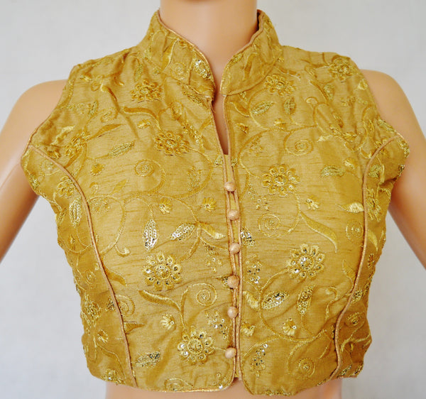 Gold Colour Readymade Blouse Size 36