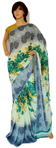 Cream & Multi Colour Pure Georgette Saree