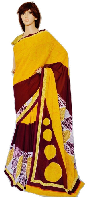 Yellow & Maroon Colour Georgette Saree