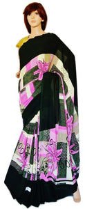 Dark Green & Multi Colour Georgette Saree