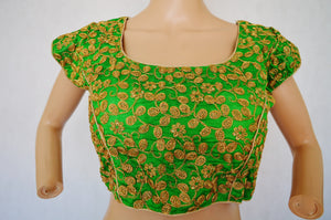 Green Dupion Silk Blouse With Golden Embroidery Work