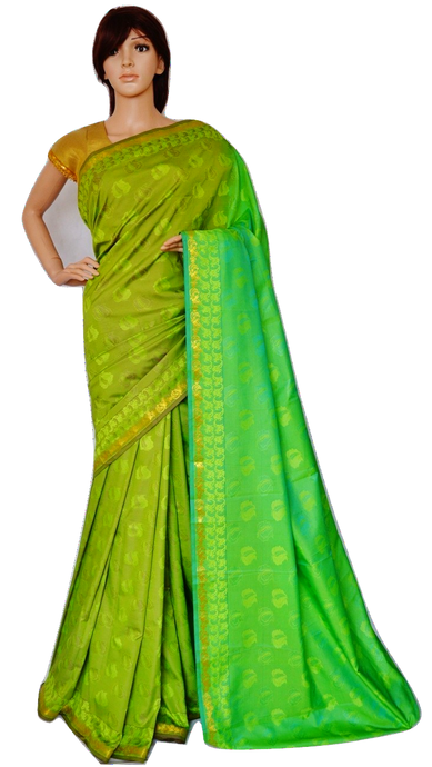Green & Gold Colour Kanchipuram Silk Saree