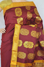 Lovely Maroon & Gold Colour Silk Saree