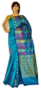 Teal Kanchipuram  Silk & Cotton Mix Saree