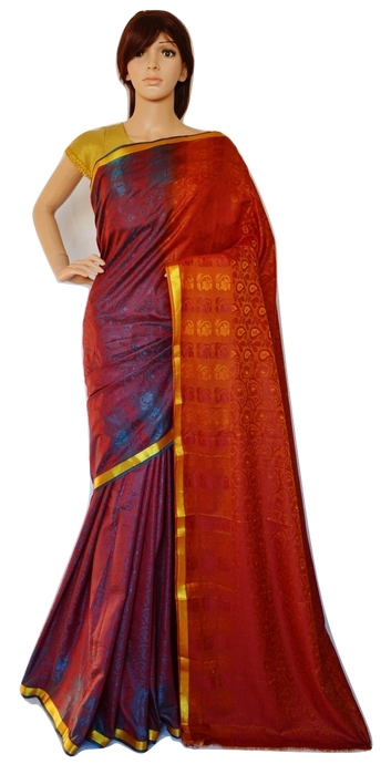 Maroon  & Gold Colour Kanchipuram Silk Saree