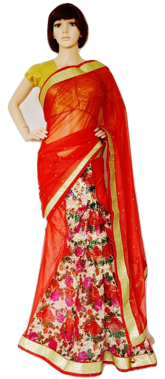 Red & Gold Colour Ready Made Pleats Saree