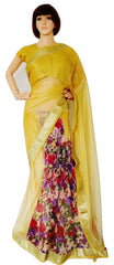 Gold & Multi Colour Ready Made Pleats Saree