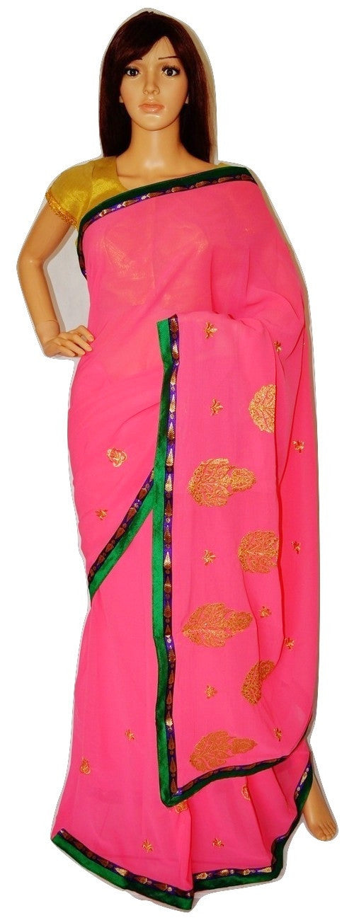 Beautiful Pink Georgette Premium Saree