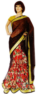 Brown & Gold Colour Ready Made Pleats Saree