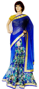 Royal Blue & Gold Colour Ready Made Pleats Saree