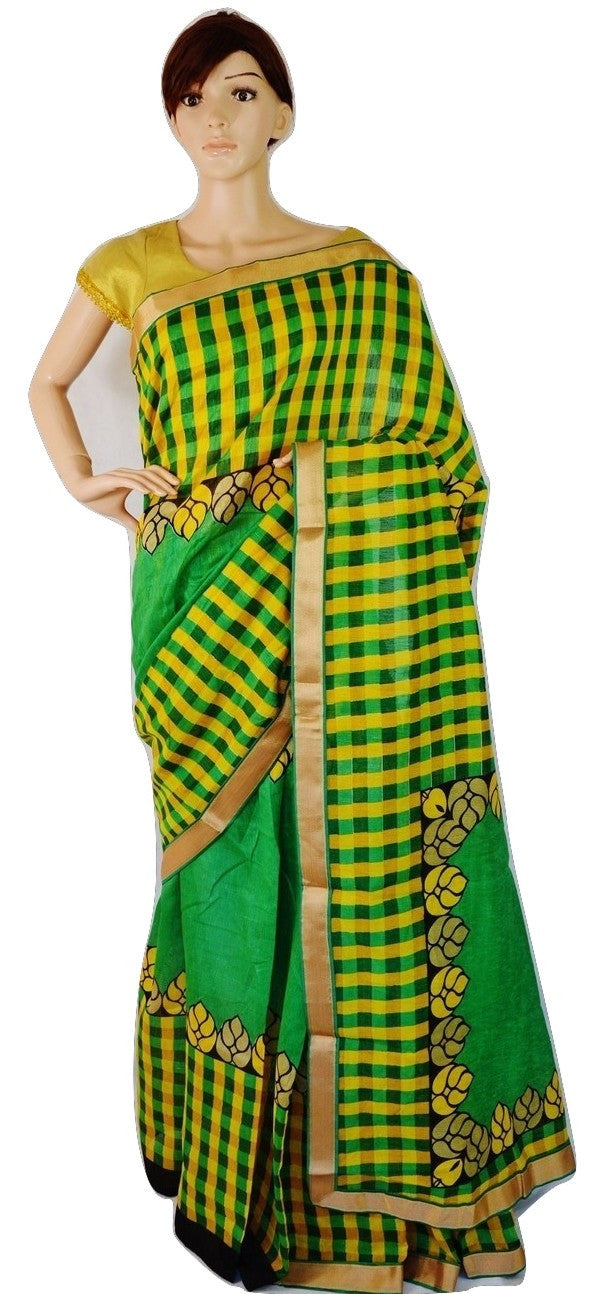 Yellow,Black & Yellow Tusser Silk  Saree