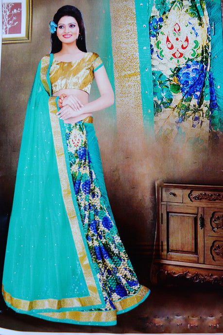 Teal & Gold Colour Ready Made Pleats Saree