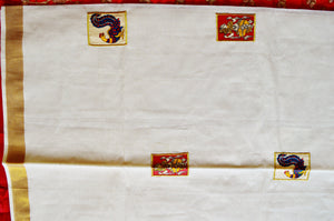 Kerala Saree With Gold  Zari Works