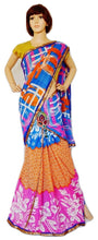 Blue, Orange & Pink Colour Ready Made Pleats Saree