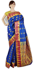 Denim Blue & Gold Colour Kanchipuram Silk Saree