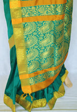 Attractive Green & Gold Colour Silk Saree