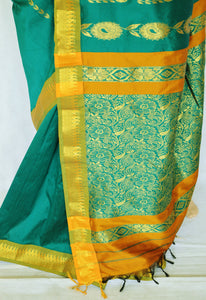 Nice Green  & Gold Colour Silk Saree