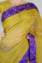 Beige & Purple Cotton Saree With Purple Blouse Piece