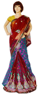 Turquoise & Maroon Colour Ready Made Pleats Saree