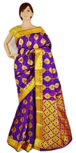 Violet & Gold Colour Kanchipuram Silk Saree