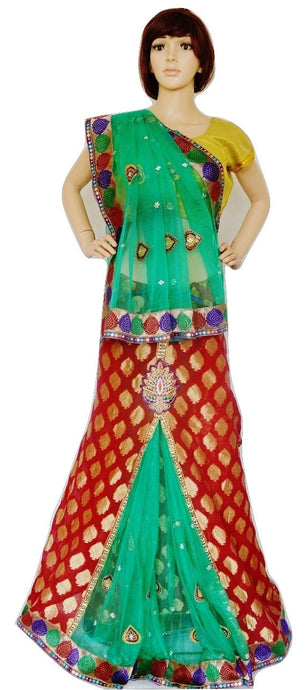 Red & Green Colour Ready Made Pleats Saree