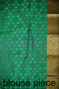 Lime Green & Gold Colour Kanchipuram Silk Saree