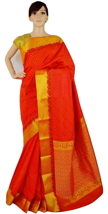 Orangered & Gold Colour Kanchipuram Silk Saree