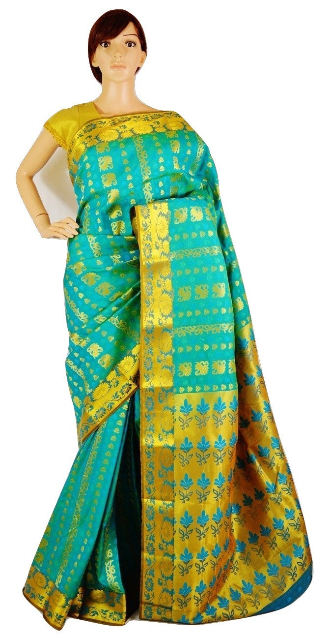 Light Turquoise & Gold Colour Kanchipuram Silk Saree