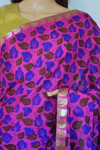 Magenta Colour Myzoor Silk Print Work Saree