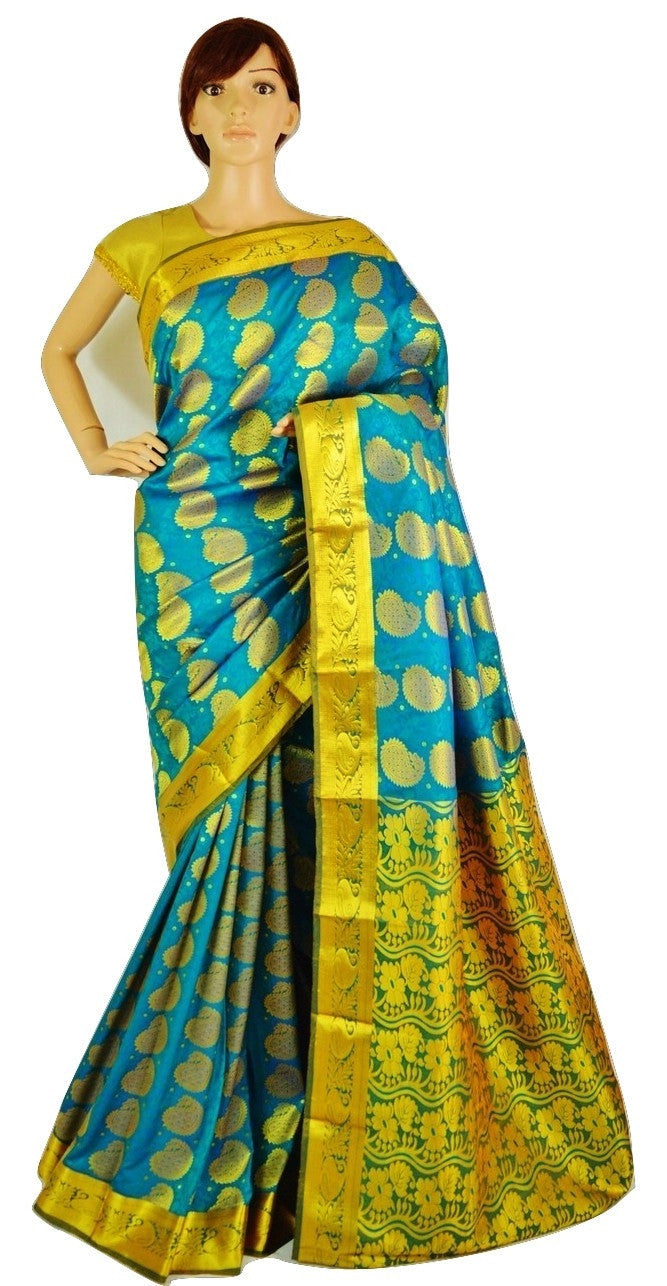 Turquoise & Gold Colour Kanchipuram Silk Saree