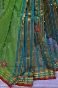 Beautiful Green Cotton Saree With stones And Patch Works