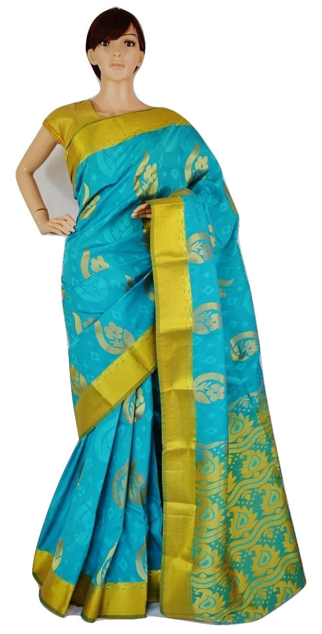 Teal,Green & Gold Colour Kanchipuram Silk Saree