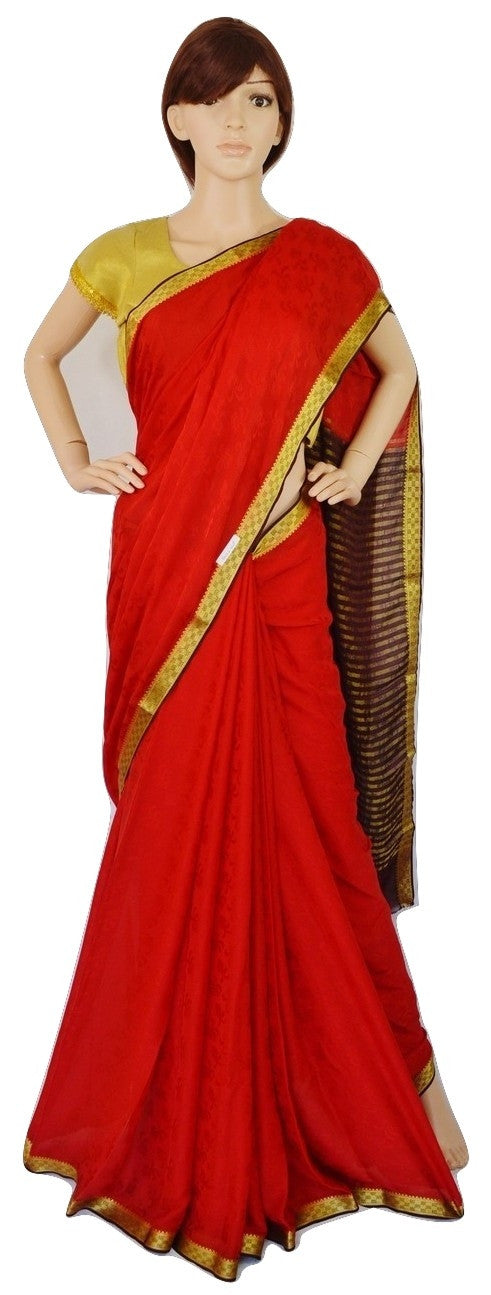 Red,Maroon & Gold Colour Kazmeer Silk Saree