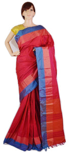 Raspberry Pink & Blue Colour Kanchipuram Silk Saree
