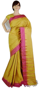 Butterscotch & Pink Colour Kanchipuram Silk Saree