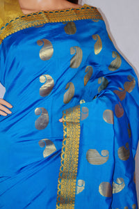 Beautiful Blue& Gold Art Silk Saree