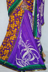Purple & Mustard  Colour One Minute Saree