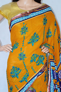 Beautiful Amber Yellow  Colour One Minute Saree