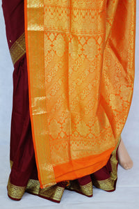 Gorgeous Berry & Orange Colour Belgum Silk Saree