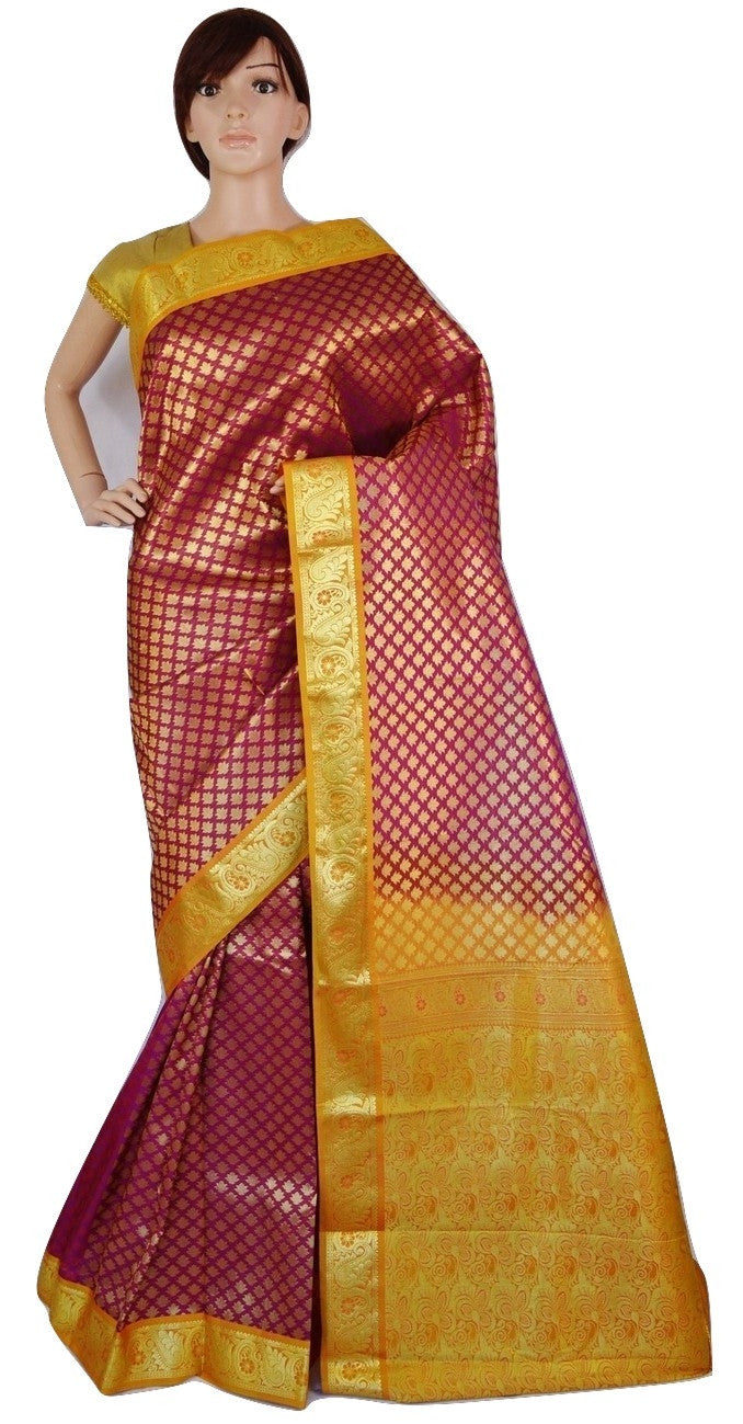 59918f38c9 Bridal Wear Magenta Colour Kanchipuram Silk Saree – NANDIKASAREES.CO.UK