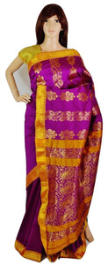 Beautiful Magenta & Gold  Silk Saree