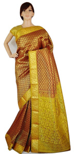 Bridal Wear Wine Colour Kanchipuram Silk Saree