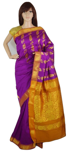 Fushcia & Mustard Colour  Silk Saree