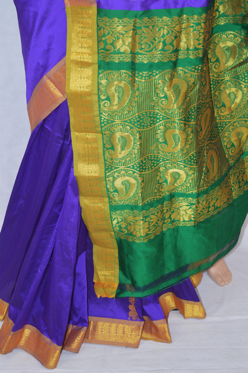 Purple & Green Colour  Silk Saree