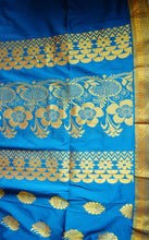 Turquoise Blue & Gold Colour Silk Saree