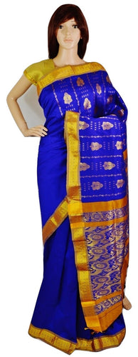 Beautiful Blue & Gold Colour Silk Saree