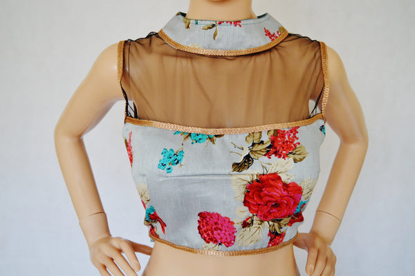 High Neck Sleeveless Digital Print blouse choli Top