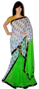 White & Bright Green Party Wear One Minute Saree