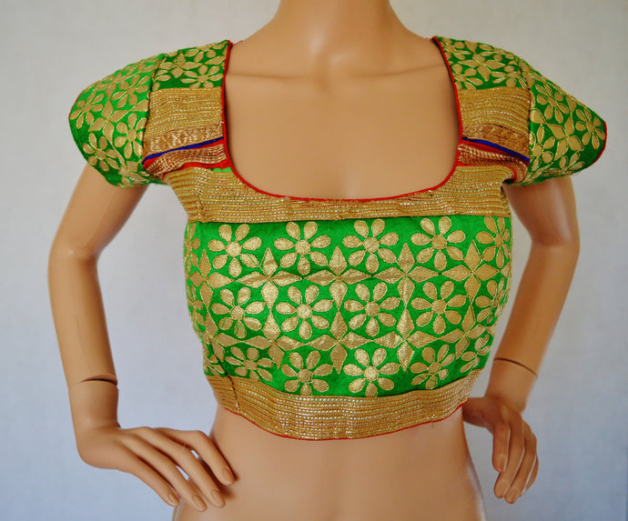 Green with golden border gota pattib blouse / Choli top